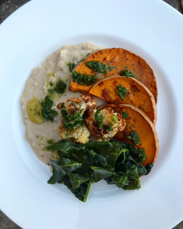 Cannellini Bean Puree with Roasted Butternut Squash, Cauliflower and Parsley Dressing