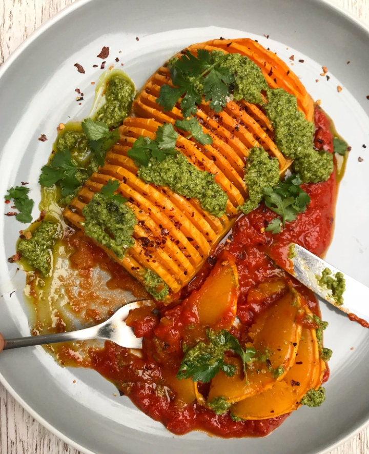 Hasselback Roasted Squash with Dill Pesto